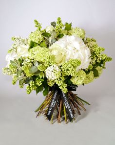 White Spring Bouquet - White Hydrageas, White Lilac, White Avalanche Roses, Senecio and Gelder Rose.
