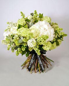 White Spring Bouquet - White Hydrageas, White Lilac, White Avalanche Roses, Senecio and Gelder Rose.