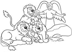 Daniel Saved From An Angel In And The Lions Den Coloring Page