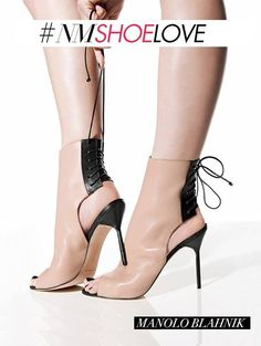 da191d711738a Manolo Blahnik Bellantomod Lace-Back Leather Ankle Boots Manolo Blahnik  Heels, Bootie Boots,