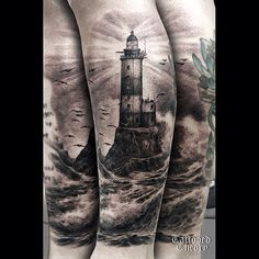 lighthouse-clouds-and-waves-tattoos-4.jpg (500×500)