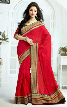 RED FAUX GEORGETTE LATEST SAREE - SKY 1001