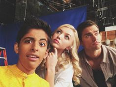 Photo: Peyton List & Karan Brar on the set of Jessie August 22, 2014