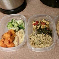 1st pic tilapia, sweet potatoes, broccoli  2nd pic brown rice, sautéed spinach, chicken chunks and bell pepper mix