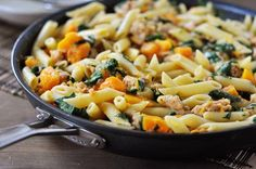 This creamy, divine butternut squash, sausage and penne pasta is made start to finish in ONE skillet. This recipe is so easy and completely delicious.