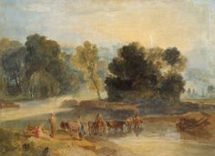 Men with Horses Crossing a River circa 1806-07 . Joseph Mallord William Turner