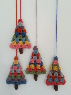 A granny square-style Christmas tree, perfect for making retro or vintage bauble. - - A granny square-style Christmas tree, perfect for making retro or vintage baubles, hanging ornaments, garlands and other decorations. Crochet Christmas Decorations, Crochet Christmas Ornaments, Holiday Crochet, Christmas Knitting, Christmas Diy, Christmas Movies, Vintage Christmas, Christmas Bunting, Black Christmas