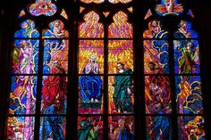 Stained glass window at St. Vitus, done by Mucha