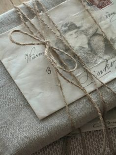 Wrapped with linen, parchment, old letters and twine Creative Gift Wrapping, Gift Wrapping Paper, Christmas Gift Wrapping, Wrapping Ideas, Creative Gifts, Christmas Gifts, Gift Wraping, Holiday Gifts, Primitive Christmas