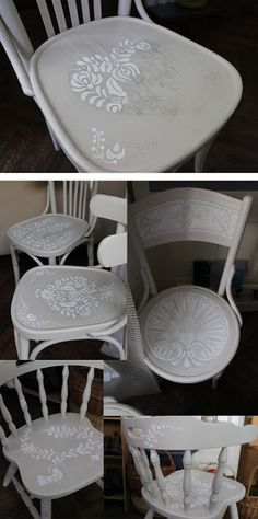 marvelous chairs with hungarian folk motif Chalk Paint Chairs, Painted Chairs, Funky Painted Furniture, Recycled Furniture, Furniture Makeover, Diy Furniture, Diy Snacks, Lace Painting, Painting Cabinets