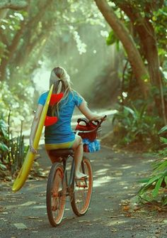 #SurferGirl on #Bicyle