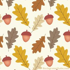 Oak Leaves And Acorns Pattern. September 17, 2013 Brown, Fall, Holiday and Seasonal, Vector,. Oak Leaves And Acorns Pattern