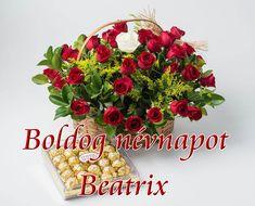 Boldog névnapot Beatrix - Megaport Media Share Pictures, Animated Gifs, Celebration, Floral Wreath, Floral Crown, Flower Crowns, Flower Band, Garland