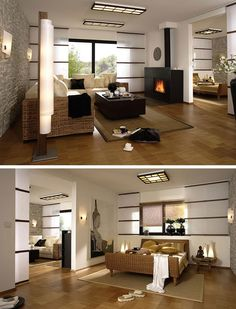 Asian style living room and bedroom with fireplace and bamboo floor