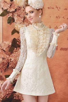Kind of strange, but hey I like it :) A-line Cream- coloured Autumn Dress