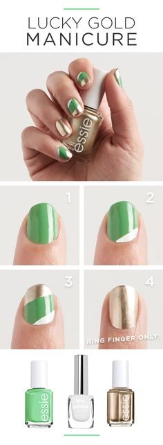 DIY: A St. Patrick's Day manicure to show your love for everything Irish. First, paint two coats of mojito madness. Then, use a small art brush to paint a stripe near the cuticle using little white lie. Last, make a parallel line at the tip of the nail in good as gold. Featured product includes: essie mirror metallics nail polish in good as gold; essie nail polish in mojito madness; and bliss genius nail polish in little white lie. Get gorgeous with Kohl's.