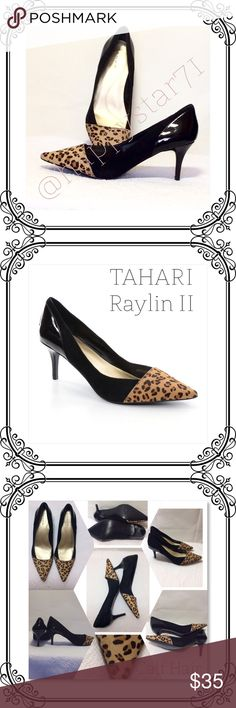"""Tahari Sling back Shoes Raylin II Style size 6M ( Narrow fit) // Calf hair with cheetah print toe cap // Suede leather on sides and patent leather back & heel area// Heel height 2"""" // no box // no scuff marks // Tahari Shoes Heels"""