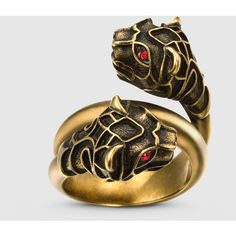 Gucci Tiger Head Ring ($365) ❤ liked on Polyvore featuring jewelry, rings, silver jewelry, red jewelry, red ring, gucci jewelry, chain ring and tiger jewelry