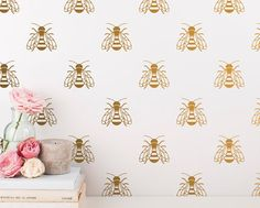 Bee Wall Decals  Gold Bee Wall Decal Set Vinyl by KennaSatoDesigns