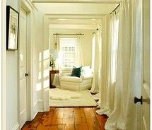 Love the wide plank wood floors coupled with the long white curtains. Architectural detail on high beams and ceiling is stunning. Fantastic hallway for a vacation home! Sweet Home, Style At Home, Beautiful Space, Beautiful Homes, Simply Beautiful, Absolutely Fabulous, Hello Gorgeous, Beautiful Interiors, White Curtains