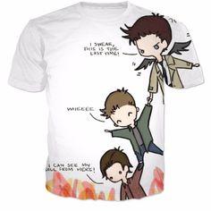 Supernatural cas dean and Sam T-Shirt Women Men Fashion 3D t shirt Summer Style Fashion harajuku tee tshirt shirt Clothing