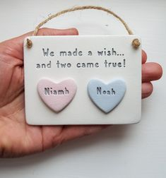 Twin Names, Twin Baby Gifts, Make A Wish, How To Make, Name Plaques, Twins, Unique Jewelry, Handmade Gifts, Etsy