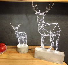 Christmas fawn lamp / white concrete deer lamp / by SturlesiDesign