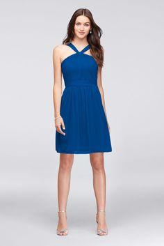 7ffc6910003 Y-Neck Mesh Short Bridesmaid Dress Style F19753