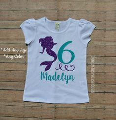 Mermaid Birthday Shirt Girls By RSSCustomCreations On Etsy Outfit Little