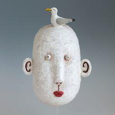 Original hand build ceramic wall mask sculpture. | MIDORI TAKAKI