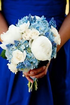 Bridesmaid's Pretty Wedding Flowers Comprised Of White Peonies, White Roses, White Spray Roses, Blue Hydrangea & Blue Grape Hyacinth~~~~