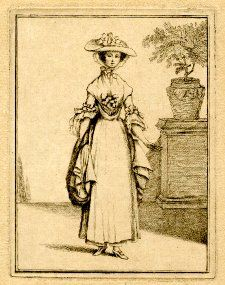 1747-1771, A young woman standing facing front wearing a broad-brimmed hat over a bonnet tied under her chin, a fichu and gown decorated with bows at the breast and elbows, fanning sleeves and a top-skirt which she gathers in right hand, a tree in a large pot on top of a plinth behind to right.