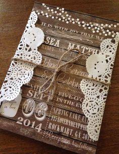 Rustic Wood Country Doily Fall Wedding Invitation by CCPrintsbyTabitha on Etsy https://www.etsy.com/listing/192686020/rustic-wood-country-doily-fall-wedding