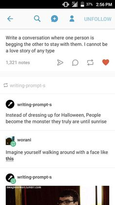Writing prompts... a couple interesting ones there