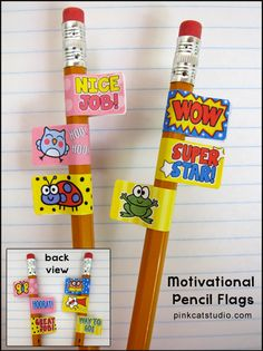 Behavior Management Pencil Stickers - Motivational Sayings and Fun Characters: Your students will be on their best behavior in order to earn these fun and motivational pencil flag stickers. Incorporate them into your behavior management system and award them to students who try their best to follow class rules and be a good student. By Pink Cat Studio $3