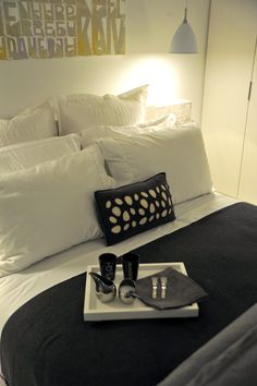 Bedroom at Re Hotel and Residences in Ottawa. So chic!