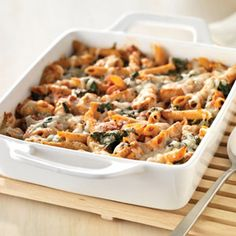 it's what's for dinner. tonight. reviews to come.   Three-Cheese Chicken Penne Pasta Bake | MyRecipes.com