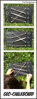 Fine Motor Development - Activities Using Geo Chalkboard; good for math facts, exponent, square roots, etc Motor Skills Activities, Educational Activities, Classroom Activities, Preschool Activities, Gross Motor, Fine Motor, Diy Montessori, Kids Education, Early Education