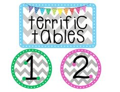 """FREE!!  This can be used to promote good classroom behavior and teamwork among groups. It includes a header card (""""Terrific Tables"""") and table number cards 1-6. The teacher or a student helper can line up the number cards according to good behavior, for lining up quiet groups when leaving the classroom, etc."""