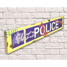 Metal police wall sign with graffiti spray paint. Lovely quirky piece, perfect to add character to any room. Industrial Signage, Graffiti Spray Paint, Police Sign, Christmas Stocking Fillers, Wall Bar, Police Station, Cool Gifts, Unique Gifts, Bar Signs
