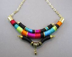 Bib colorful necklace,Tribal necklace,African necklace,Chunky necklace,Thread wrap necklace,textile necklace,contemporary jewelry