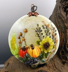 Thanksgiving Harvest lampworked bead  by Cynthia Tilker