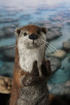 Needle Felted Otter Sculpture Deco Piece by OkieFolky on Etsy