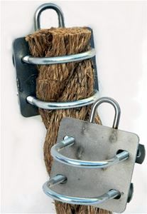 """Hanging large diameter 2"""" rope couldn't be easier! Simply cut rope to desired length, slip through U bolts, tighten, and your ready to hang. All stainless steel backplate."""
