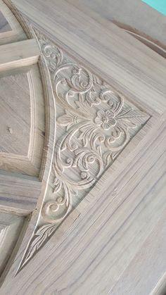 Corner engraving on teak wood door Single Door Design, Home Door Design, Temple Design For Home, Wood Bed Design, Wooden Main Door Design, Wood Carving Designs, Wood Carving Art, Wood Art Panels, Wooden Doors