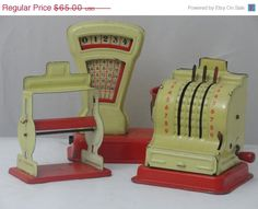 25OFF Tin Toy Cash register  Balance Scale and by FrenchFairyTale, $48.75