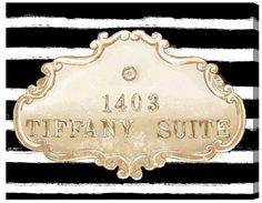 Oliver Gal 'Tiffany Suite' Canvas Wall Art. Sponsored affiliate.  #canvas #wallart #tiffany #stripes #blackandwhite #girly