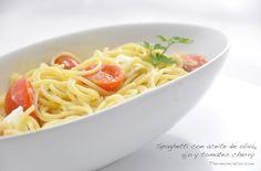 Espaguetis con aceite de oliva, ajo y tomates cherry - http://www.thermorecetas.com/2013/12/15/spaghetti/