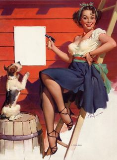 "Free US shipping Stylish Handprinted Cotton Art Reproduction Applique Vintage Sexy Pin-up Girl Gil Elvgren, ""A good sign"" , 1951"