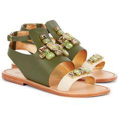 Sanchita Green Leather Tabasco Flat Sandals